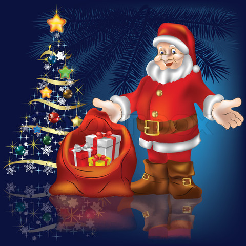 santa-claus-and-gifts-on-blue-background