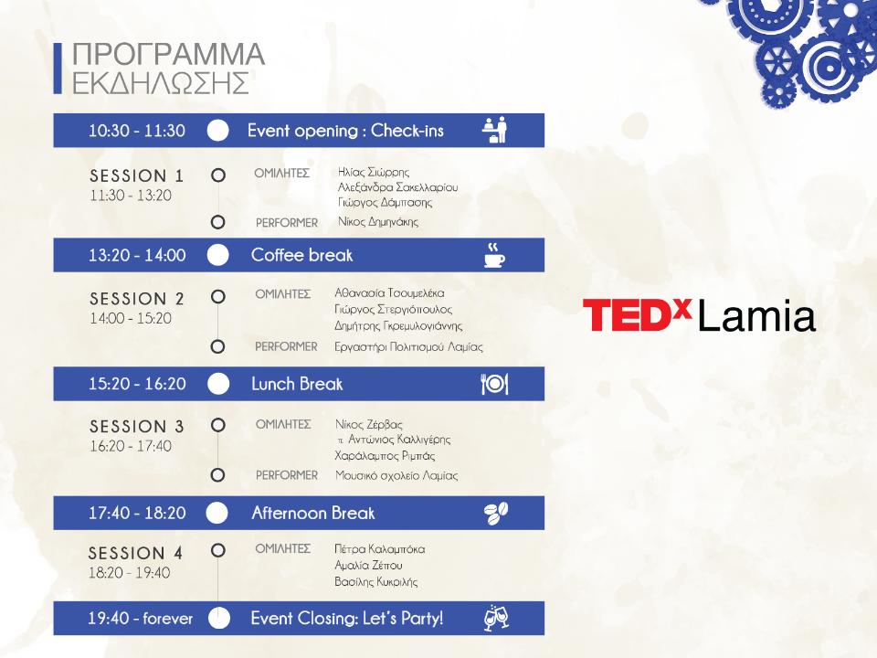 programma tedxlamia ΦΘΙΩΤΙΔΑ ΣΥΝΕΡΓΕΙΑ ΛΑΜΙΑ ΕΘΕΛΟΝΤΙΣΜΟΣ TEDxLamia